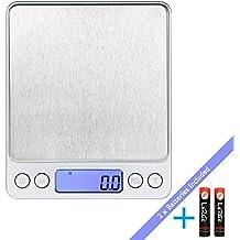 LaTEC Báscula de Cocina Digital (3000g, 0.01oz / 0.1g), Mini escalas eléctricas del bolsillo de la joyería del alimento, con Pantalla LCD retroiluminada, función de Tare y PCS, Plataforma de Acero Inoxidable, Baterías y Bandejas Incluidas
