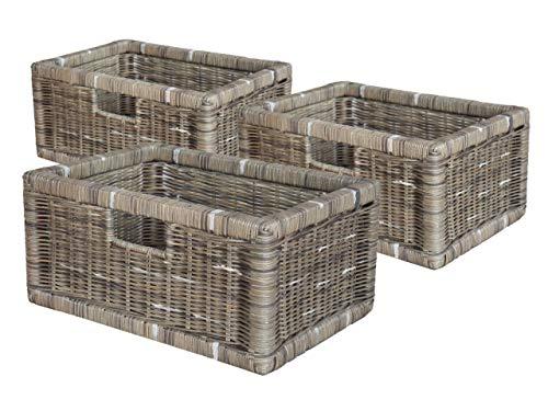 casamia Rattankorb Set 3 Stück flach mit Griffloch, Basalt (BxHxL) = 40 x 18 x 28 cm