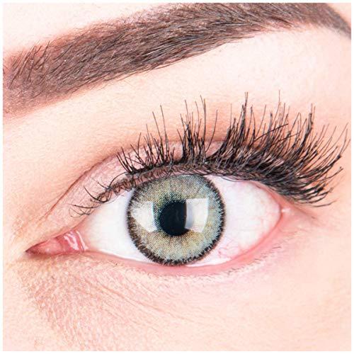 """Sehr stark deckende und natürliche graue Kontaktlinsen SILIKON COMFORT NEUHEIT farbig \""""Mirel Grey\"""" + Behälter von GLAMLENS - 1 Paar (2 Stück) - DIA 14.00 - mit Stärke -3.75 Dioptrien"""