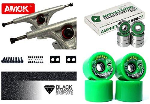 "Longboard Achsen Set Advanced | Amok Trucks 7"" 180mm | Amphetamine Integra ABEC 7 Kugellager | Bigfoot Wheels | inkl Hardware & Griptape (silver)"