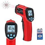 RAGU H01 Infrarot Thermometer Emissivität Seigenschaften Kontaktloses Digitales Laserthermometer Pistole zur Temperaturmessung IR -50°C~ 380°C (-58°F~716°F), Rot/Schwarz