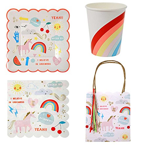 Rainbow Einhorn Party Ware Bundle Papier Teller Servietten Geschenktüten Cups Qualität (Unicorn Papier-servietten)