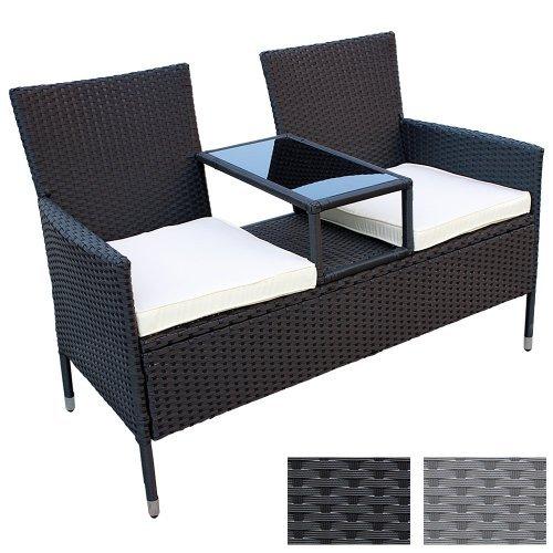 Miadomodo Divano da giardino divanetto con tavolino da giardino in polyrattan colore nero