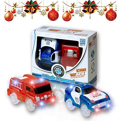 (MIGE Auto Spur Polizei Einsatzwagen und Feuerwehrauto Electric Magic Auto Leuchten im Dunkeln mit Twister Tracks für Kinder 3 Jahre und bis Packung von 2 (Rot + Blau))