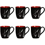 Coffee Mug Ceramic/Stoneware In Black & Red Leaf (Set Of 6) Handmade By Caffeine