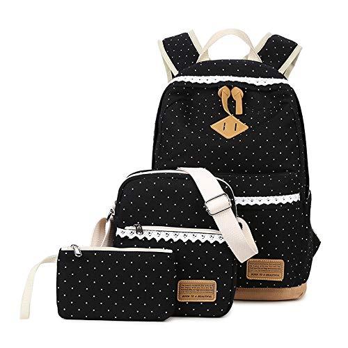 (Mädchen Tasche 3 Set mit Schulrucksack, Schultertasche, Geldbeutel KHDZ Segeltuch Tagstasche mit Punkten und Spitzen Perfekt für Schule Reise Freizeit (Schwarz))