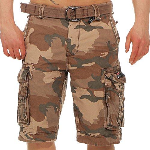 Jet Lag Herren Cargo Shorts Take off 8 (18) kurze Hose mit großen Seitentaschen brown camo W33 Rise Camo