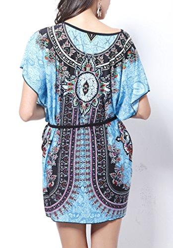... Damen Druckkleider Freizeitkleider Minikleid Kurzarm Fledermausärmel  Rundkragen Blumendrucken Vintage Ethno-Style Mini Locker Blau ...