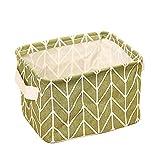 AIUIN Boîte de Rangement Petit Motif Géométrique Polyvalent Poubelle Paniers de Rangement de Bureau Pratique Tiroir en Tissu pour Maquillage, Jouets, Cuisine 1PC 20.5*16*13cm (Vert)