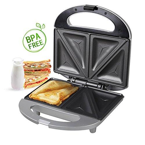 Aigostar Cieplo Silver 30 CEW - Sandwichtoaster / Sandwichmaker mit Antihaft, ( Waffeleisen, Sandwichmaker, Donutmaker, Kontaktgrill), Toaster mit 700 Watt in Silber. Waffeleisen, Sandwich-maker