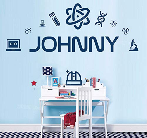 Dna-labs (Hanjiming Personalised Name Wall Sticker Science Scientist Dna Lab Microscope Chemistry Vinyl Wall Decal Mural Kids Children Room)