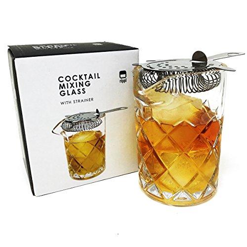 Rippl Cocktail Rührglas Set-Old Fashioned Kit mit Edelstahl Sieb und Cocktail Glas Bar Tools-400ml Cocktail Mixer Old Fashioned Cocktail