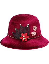 2d2298841f9b9 TYGRR Small Hat Winter Ladies Silky Velvet Middle Aged Fashion Basin Cap  Flower Decoration Felt Dome Top…