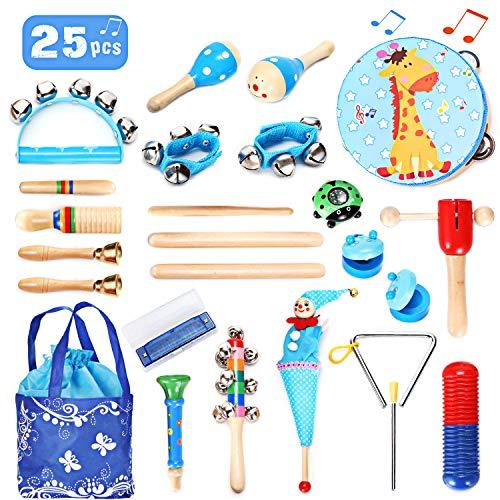 EPCHOO Musikinstrumente Kinder Set, 25 Stück Musical Instruments Set Holz Percussion Set Rhythm Toys Kleinkindspielzeug Lernspielzeug für Jungen Mädchen mit Aufbewahrungsrucksack