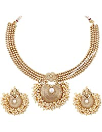 Jewels Galaxy Elegant Pearl Studded Designer Gold Plated Bridal Necklace Set For Wedding/Party
