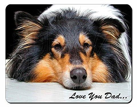 Border Collie Dog 'Love You Dad' Tapis de souris d'ordinateur pad cadeau de Noël