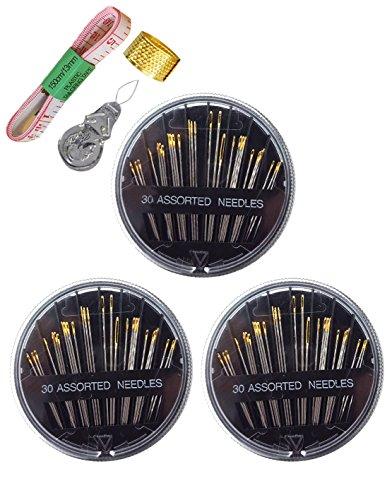 DIKETE® 93pcs kit da cucito, 30pcs assortiti mano aghi per cucire [3] Confezione + 1pcs (Filo D'avviamento Unità)