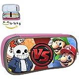 Ta-ta rana esqueleto hermanos vs Mario Bros de niño y niña de la lona multifunción estudiante universitario del lápiz bolsa, color rosa ONE_SIZE