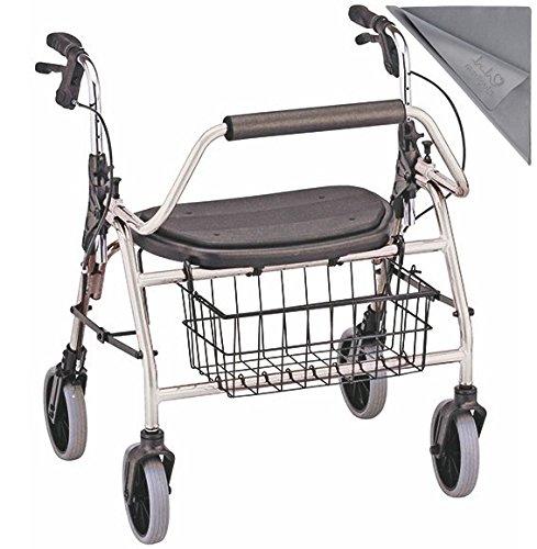 XXL-Rollator bis 200 kg belastbar┇Deutlich größere Sitzbreite im Gegensatz zum Standard-Rollator - Mit Griffbremse, Korb, gepolsterter Sitzauflage und Rückenbügel┇Inkl. medipuls Microfasertuch