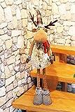 Bezaubernder XL - Weihnachts - Deko - ELCH / RENTIER aus Stoff mit Teleskop-Beinen - bis zu 98 cm hoch - ausgefallene Dekoidee für Ihre Wohnung oder zum Verschenken in Winterzeit, Advent, Weihnachten