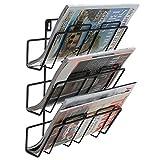 3livelli moderno nero a parete metallo bar porta riviste/cartellina portadocumenti Hanging Organizer portaoggetti
