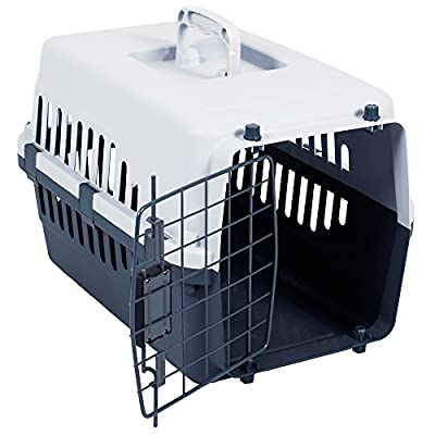 Home Discount Pet Carrier, Animal Cage Cat Dog Transport Box Spring Lock Door, White & Grey by Home Discount