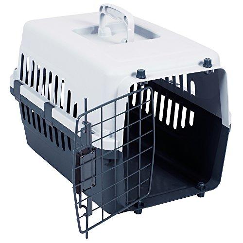 Pet-kiste Groß Reise (Transport Box, Haustier, Hund, Katze, Groß, Weiß & Grau von Pet Vida)