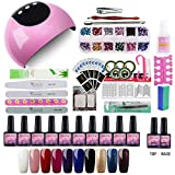 Saint-Acior Nail Dryer 24W LED Lámpara Secadora de Uñas 10pcs Esmalte Semipermanente Top Coat Base...