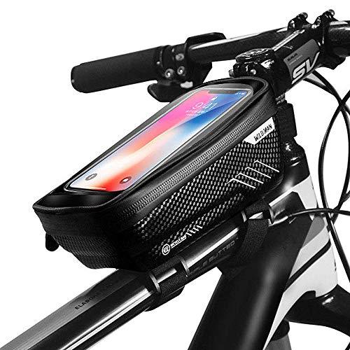 CETECK Fahrrad Rahmentasche, wasserdichte Fahrradhalterung Lenkertasche Fahrradrahmentasche mit Touchscreen-Oberrohrtaschen für iPhone 8 Plus/X/XS Max/XR/Samsung S8 / S9 Plus bis zu 6,6 Zoll