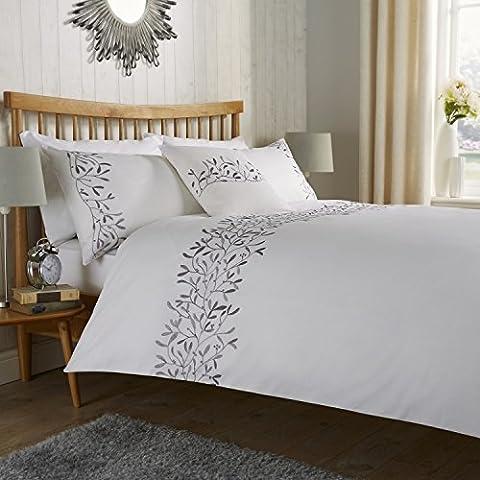 Goldstar® Eden Embroidered Panel Design Duvet Quilt Cover Polycotton Bedroom Luxury Bedding Set (Super King,