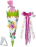 alles-meine.de GmbH BASTELSET Schultüte -  Schmetterling & Blumen  - 85 cm - incl. großer Schleife - mit / ohne Kunststoff Spitze - Zuckertüte - Set zum selber Basteln - 6 ecki..