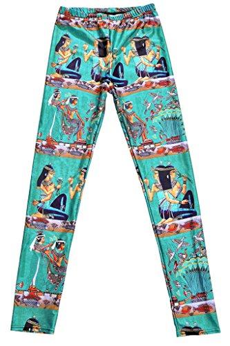 Smile YKK Pantalon Femme Slim Legging Imprimé Numérique Collant Fantaisie Casual Sport Mode Egyptienne