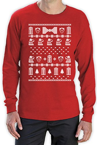 Doctor Ugly Christmas Who Weihnachten sweater Langarm T-Shirt Rot