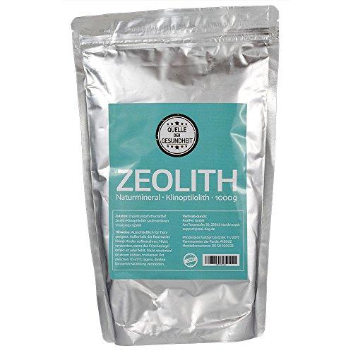Reines Zeolith Klinoptilolith PULVER – 1000g - Made in Germany - geprüfte Premiumqualität - extra fein gemahlen - gemäß EU Verordnung ist reines Zeolith als Futterzusatz zugelassen, in anderen Ländern, bspw. USA, auch für Nahrungsmittel