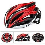 Sunzy Casco Estraibile e Regolabile in Bicicletta Traspirante per Adulti e Adolescenti, Disponibile in 5 Colori,Red