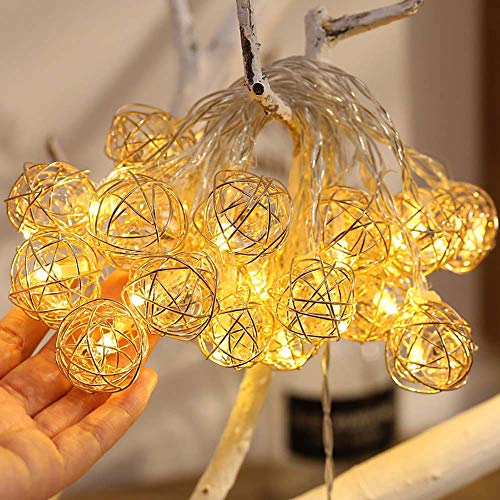 Marokkanische Schlafzimmer Dekor (Kupfer Draht LED Lichterkette für innen und außen | LED-Licht geschmiedet durchbrochene Diamant Fairy Fairy hängen Hochzeit Schlafzimmer Romantische Dekor (A: 1.5 MX 10LED))