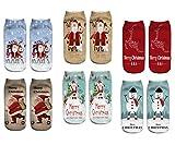 LegendsChan 6 Paar Weihnachten Festlicher Spaß Neuheit Cotton Socken Weihnachtssocken Christmas stockings Santa Schneemann Socken (Xms-6 Paar-B)