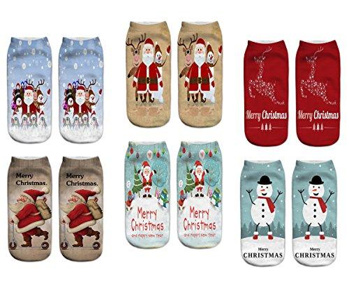 Spaß Socken Frauen (LegendsChan 6 Paar Weihnachten Festlicher Spaß Neuheit Cotton Socken Weihnachtssocken Christmas stockings Santa Schneemann Socken (Xms-6 Paar-B))