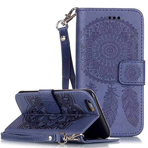 Apple iPhone 6 Plus Custodia in pelle Flip Wallet Cover Case, Nnopbeclik Folio PU Leather Case Fiore Stampa campanula diamante bling strass Bling Diamante Custodia a Libro Cassa vera strass di alta qu blu reale
