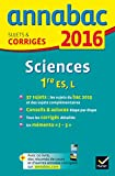 sciences ; 1ère ES, L (édition 2016) | Collectif