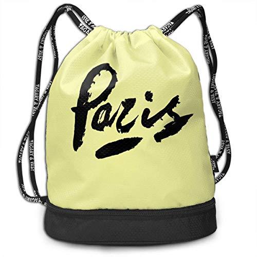 Sporttaschen, Rucksäcke,Paris Drawstring Bags Pumping Rope Backpack Pack Travel Sport Gym Sack Bag for Men/Women and Kids Bundle Backpack -