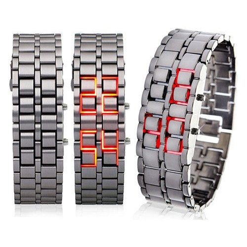 TOOGOOR-Iron-Samurai-Watch-Red-LED-Digital-Lava-Futuristic-Cool-Design-New