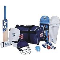 CW deportes acemedy equipo de Cricket Kit azul con {bate de críquet bolsa de Kit grande + +–Casco de críquet bate de críquet bateador de piel Protector Abdominal + pelota + guantes + pierna guardia + brazo y protector de muslo}, azul, Size -6 Ideal For 11-12 year Child
