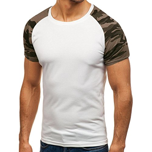 Herren Shirt, Sommer Camouflage Drucken Tee Rundhalsausschnitt Kurzarm T-Shirt Sweatshirt Tanktop Fitness Muskelshirt (XXL, Weiß) (Orange Tee Dry)