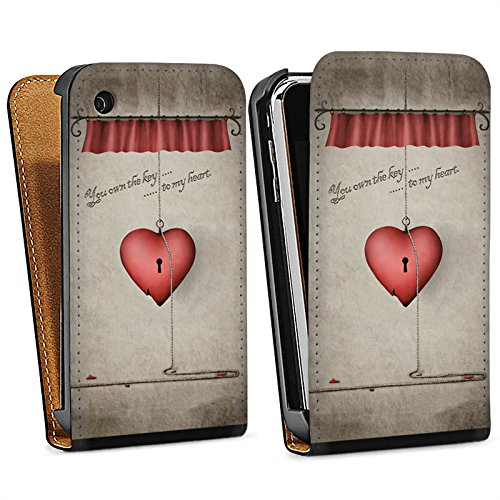 Apple iPhone 4 Housse Étui Silicone Coque Protection C½ur Phrase Clés Sac Downflip noir