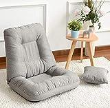 Elegante silla de pie, con varios ángulos, asiento con respaldo ajustable, silla plegable y baja ideal como silla de TV Silla de juego con suelo Silla de meditación Silla de lectura ( Color : Gray )