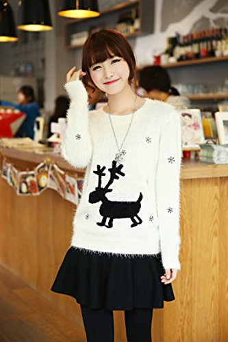 Shineflow maglione renna di Natale in neve felpa jumper (taglia piccola) Beige