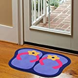 Blueqier Pad per WC Flip-Flops Colorate Tappetini Antiscivolo Tappetini da Bagno Tappetini-Blu Tappetino da Bagno