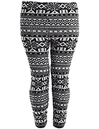 New Ladies Snowflake Stretch Knitted Full Length Leggings Womens Ankle Grey 12/14