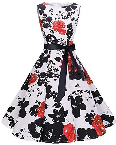 bbonlinedress 50s Retro Schwingen Vintage Rockabilly Kleid Faltenrock RedFlower 3XL